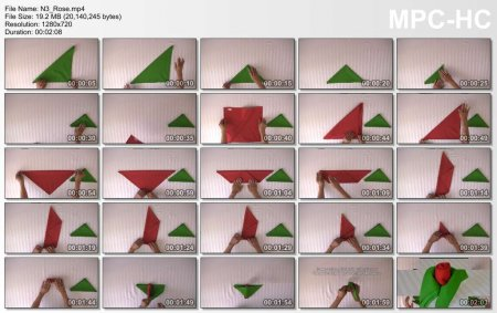 فیلم آموزش طرز آموزش تزئین دستمال سفره (گل رز)
