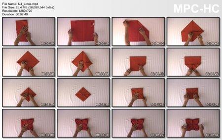 فیلم آموزش طرز آموزش تزئین دستمال سفره (نیلوفر آبی)