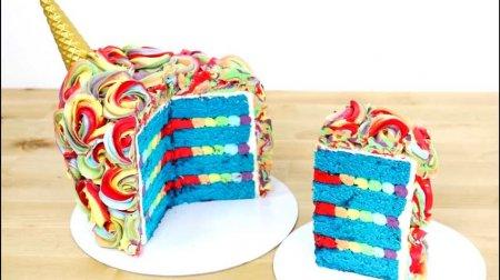 فیلم آموزش طرز تهیه کیک رنگین کمانی تک شاخ